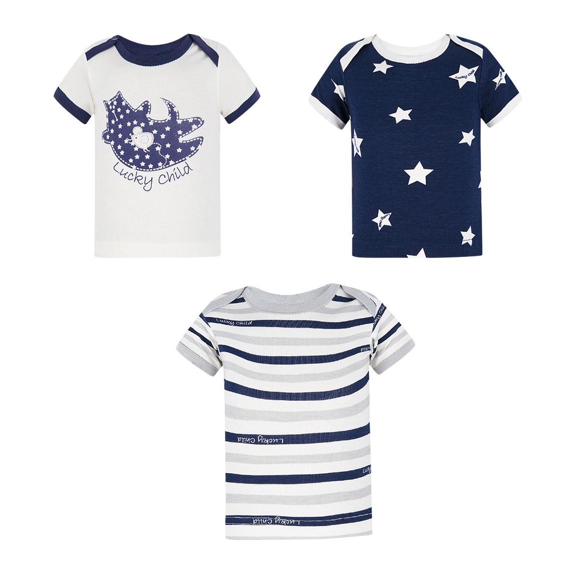 Купить Комплект футболок Lucky Child Котики 3 шт 92-98, Белый, Синий, Хлопок, Для девочек, Весна-Лето,