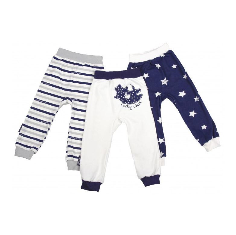 Купить Комплект брюк Lucky Child Котики 3 шт 92-98, Белый, Синий, Интерлок, Для детей, Всесезонный,