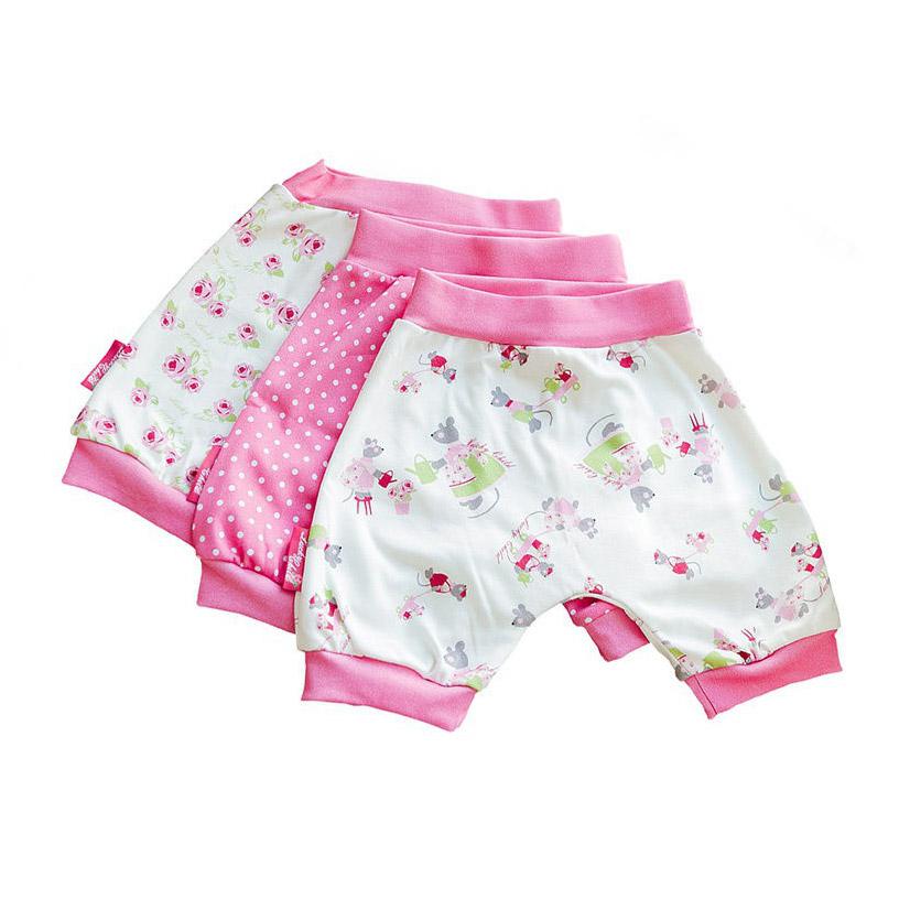 Купить Комплект шортов Маленькая садовница 3 шт 98-104, Lucky Child, Розовый, Интерлок, Для девочек, Весна-Лето,