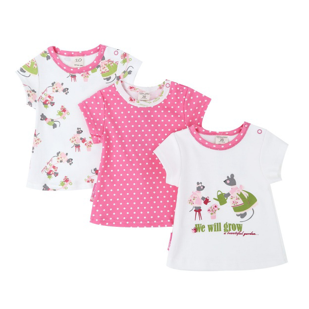Купить Комплект футболок Lucky Child Маленькая садовница 3 шт 86-92, Розовый, Интерлок, Для девочек, Всесезонный,