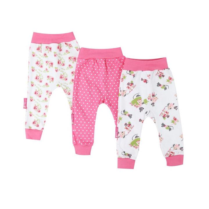 Комплект штанишек Маленькая садовница 3 шт 98-104, Lucky Child, Розовый, Интерлок, Для девочек, Весна-Лето,  - купить со скидкой