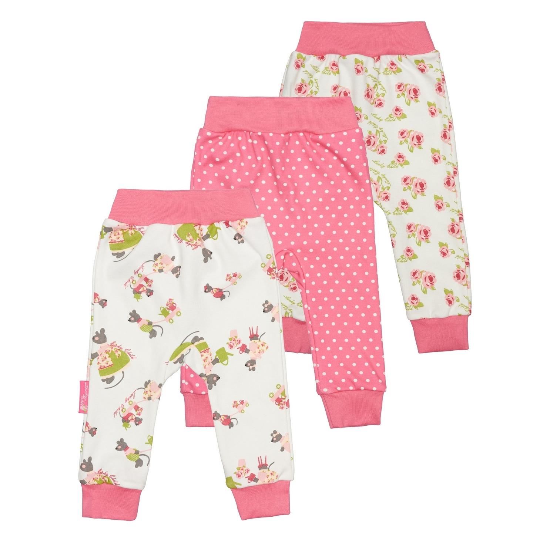 Купить Комплект штанишек Lucky Child Маленькая садовница 3 шт 86-92, Розовый, Интерлок, Для девочек, Всесезонный,
