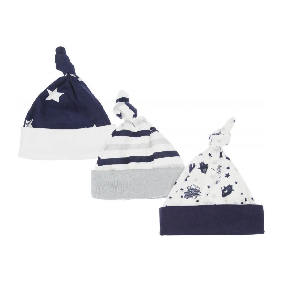 Купить Комлект шапочек Lucky Child Котики 3 шт 47, Разноцветный, Интерлок, Для мальчиков, Всесезонный,