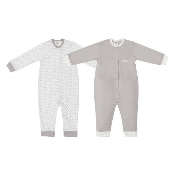 Купить Комплект комбинезонов Lucky Child Дуэт 2 шт для девочки 74-80, Молочный, Интерлок, Осень-Зима, Одежда для новорожденных