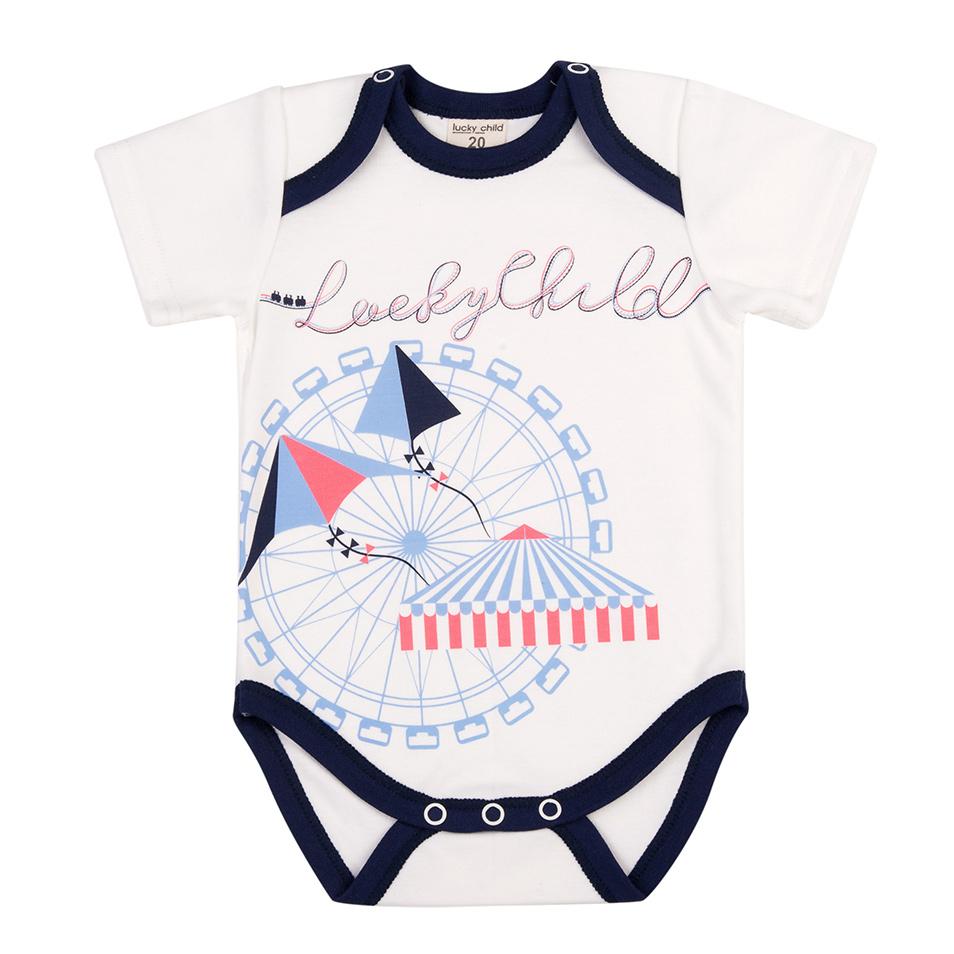 Купить Боди Lucky Child Парк аттракционов белый 86-92, Белый, Интерлок, Для мальчиков, Всесезонный,