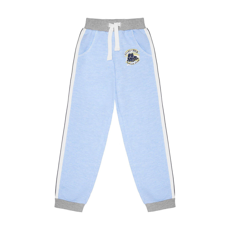 Купить Брюки Lucky Child Basic Sport голубые 122-128, Голубой, Футер, Для мальчиков, Всесезонный,