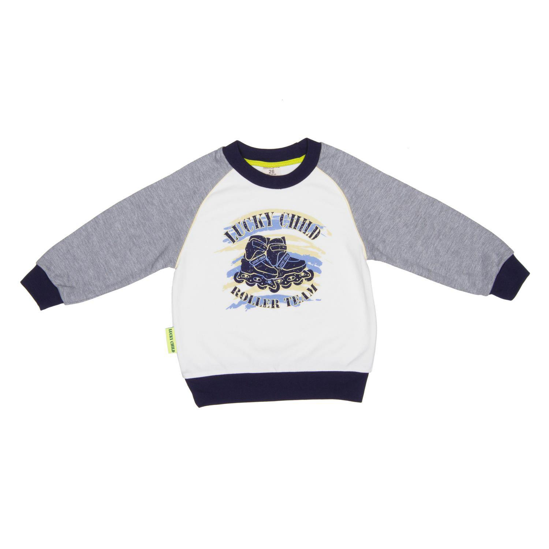 Купить Толстовка Lucky Child Basic Sport серая 116-122, Серый, Футер, Для мальчиков, Всесезонный,