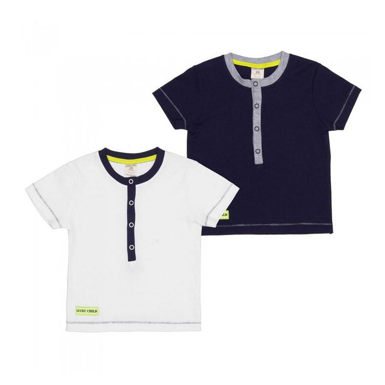 Купить Комплект футболок Lucky Child Basic sport 2 шт 92-98, Молочный, Синий, Кулирка, Для мальчиков, Всесезонный,
