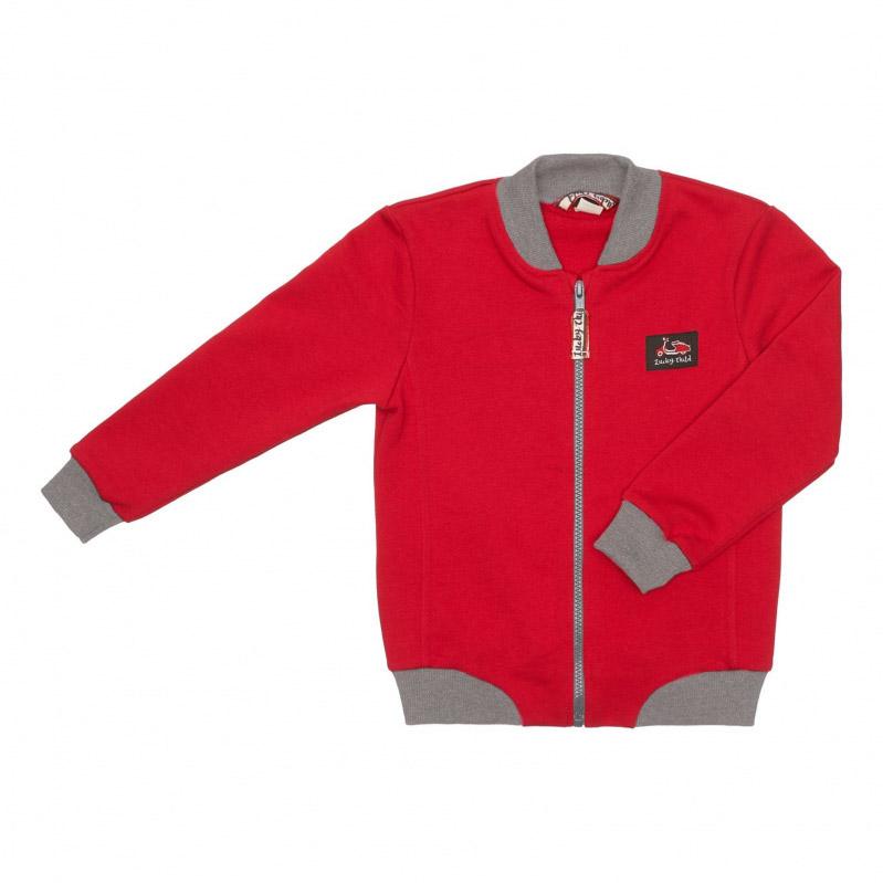 Купить Куртка Lucky Child Лемур в Париже на молнии 116-122, Красный, Футер, Для мальчиков, Весна-Лето,