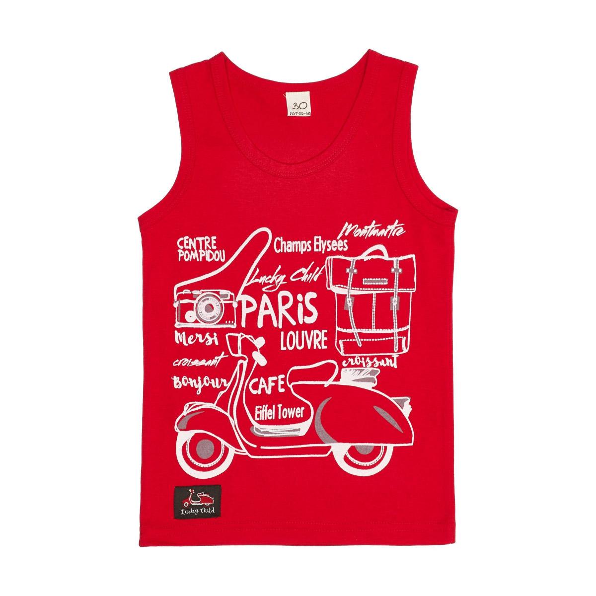 Купить Майка Lucky Child Лемур в Париже 92-98, Красный, Кулирка, Для мальчиков, Весна-Лето,