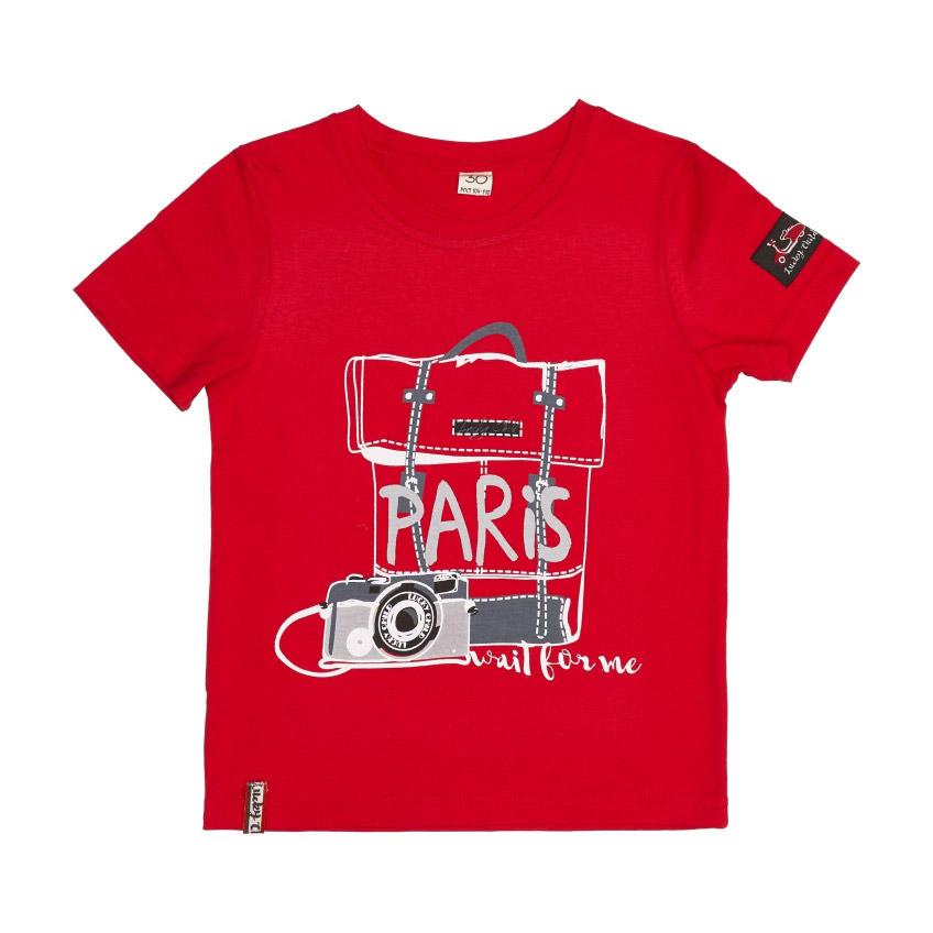 Футболка Lucky Child Лемур в Париже красная 110-116