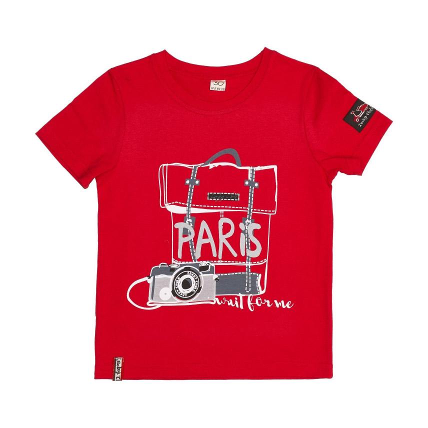 Футболка Lucky Child Лемур в Париже красная 116-122