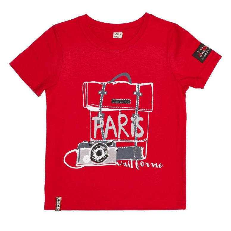 Футболка Lucky Child Лемур в Париже красная 80-86