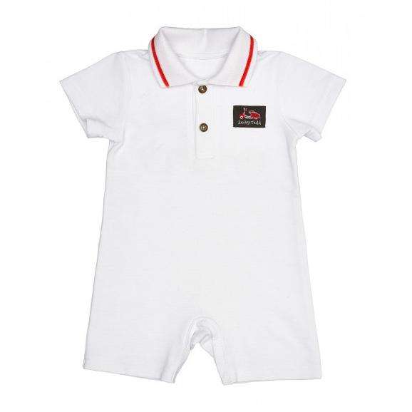 Купить Песочник Lucky Child Лемур в Париже молочный 86-92, Молочный, Пике, Для мальчиков, Весна-Лето,