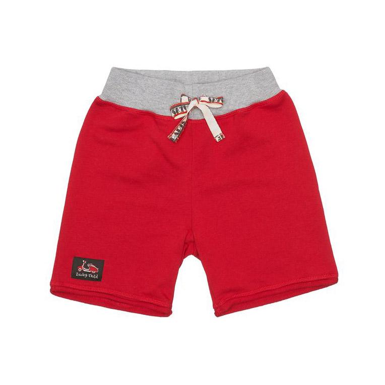 Купить Шорты Lucky Child Лемур в Париже красные 122-128, Красный, Футер, Для мальчиков, Весна-Лето,