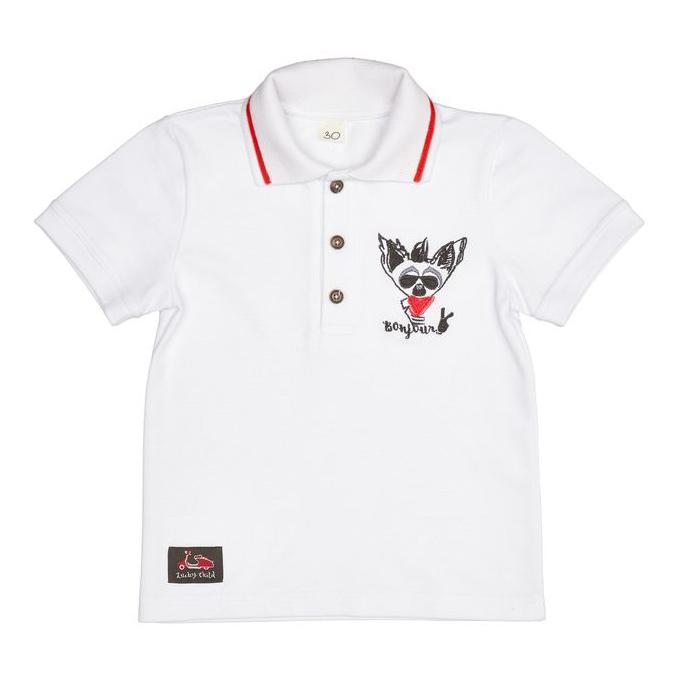 Купить Футболка-поло Lucky Child Лемур в Париже 86-92, Белый, Пике, Для мальчиков, Весна-Лето,