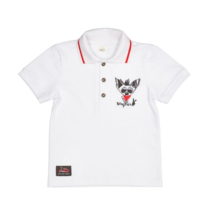 Купить Футболка Lucky Child Лемур в Париже 92-98, Белый, Кулирка, Для мальчиков, Весна-Лето,