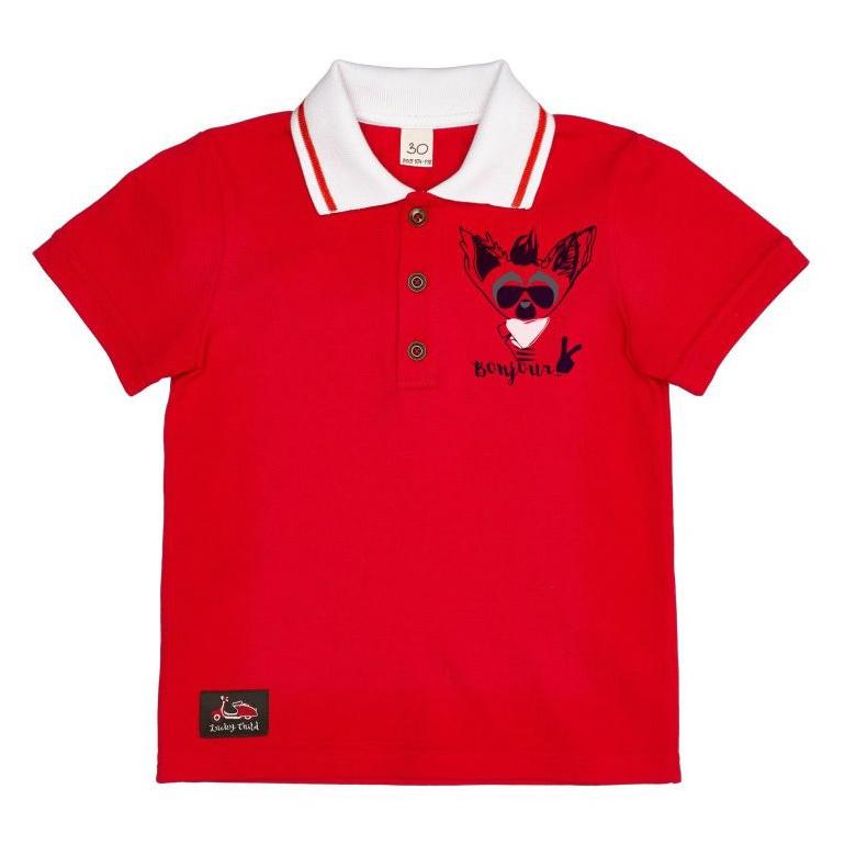 Футболка-поло Lucky Child Лемур в Париже красная 80-86