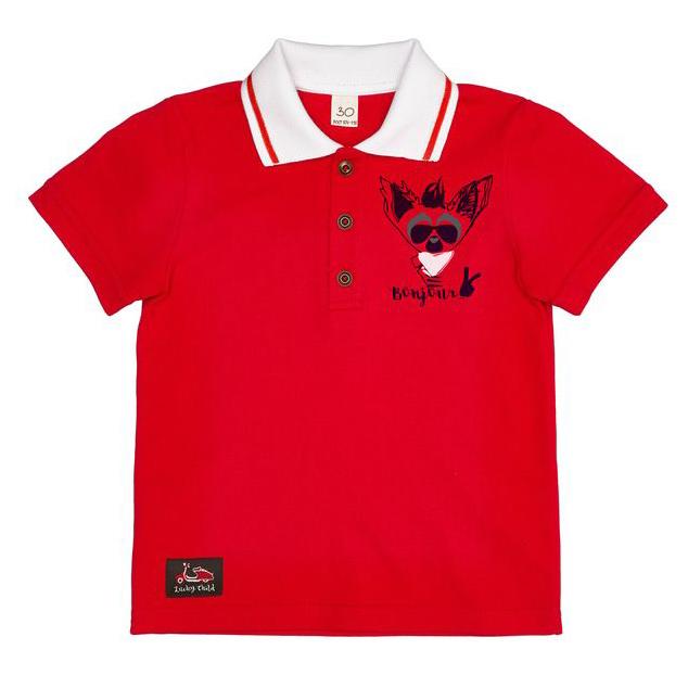 Купить Футболка-поло Lucky Child Лемур в Париже красная 86-92, Красный, Пике, Для мальчиков, Весна-Лето,