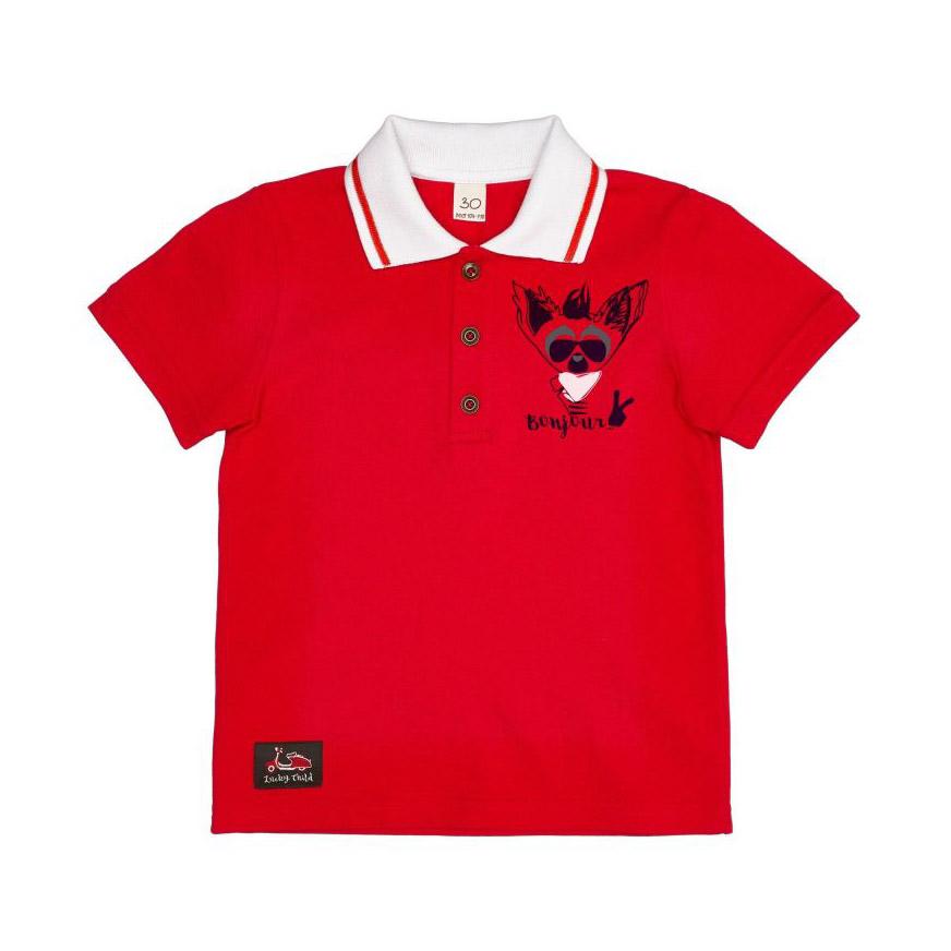 Купить Футболка-поло Lucky Child Лемур в Париже красная 116-122, Красный, Интерлок, Для мальчиков, Весна-Лето,