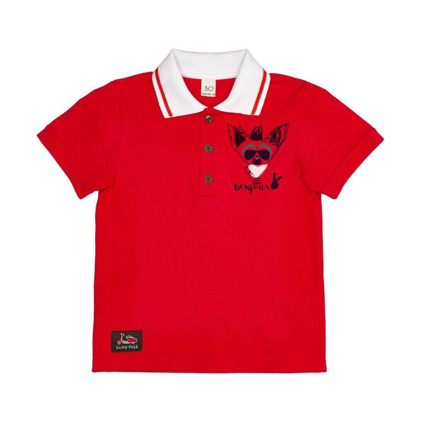 Купить Футболка-поло Lucky Child Лемур в Париже красная 122-128, Красный, Интерлок, Для мальчиков, Весна-Лето,