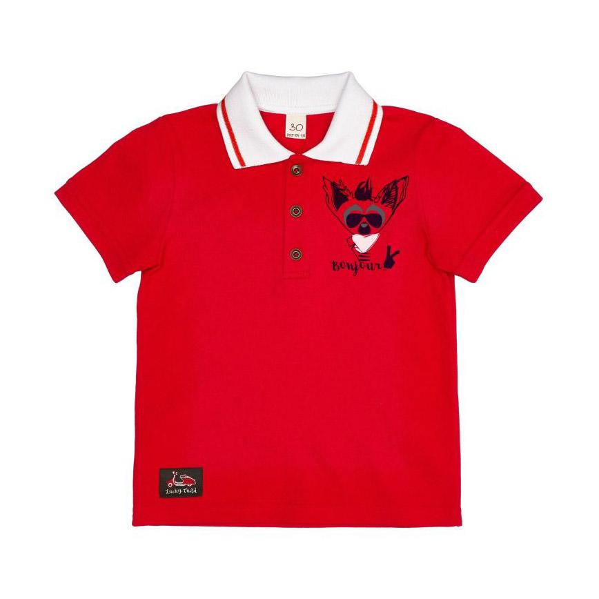 Купить Футболка-поло Lucky Child Лемур в Париже красная 128-134, Красный, Интерлок, Для мальчиков, Весна-Лето,