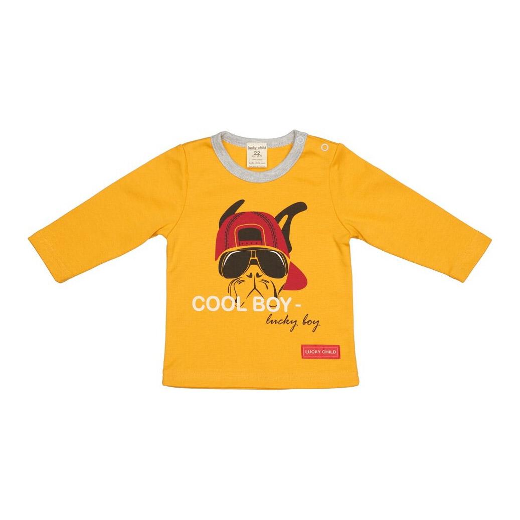 Купить Лонгслив Крутой парень оранжевый 122-128, Lucky Child, Оранжевый, Интерлок, Для мальчиков, Всесезонный,