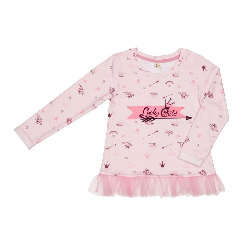 Купить Лонгслив Lucky Child Принцесса Сказки 86-92, Розовый, Кулирка, Для девочек, Всесезонный,