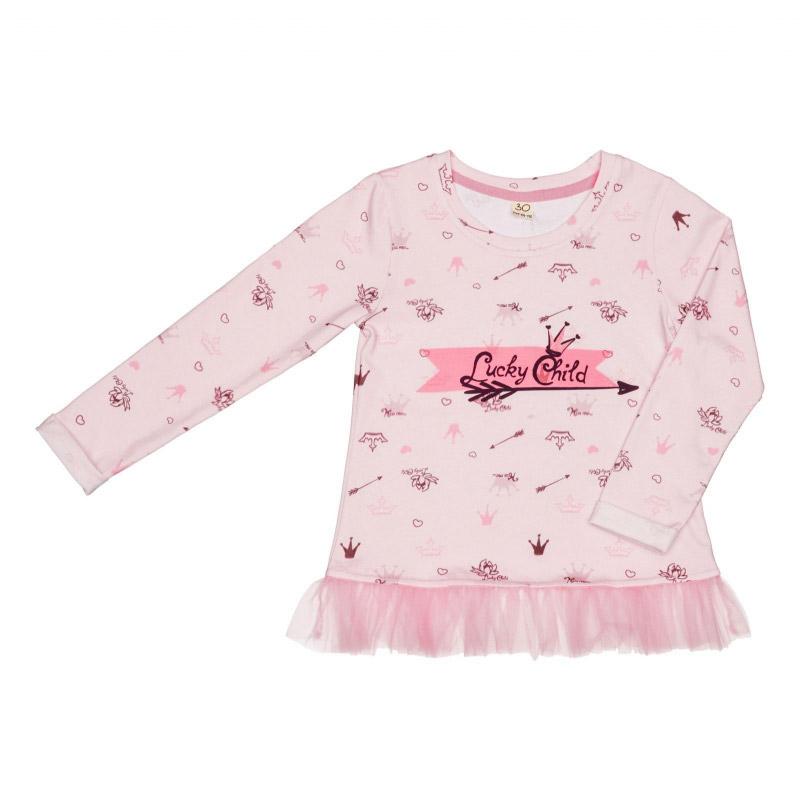 Купить Лонгслив Lucky Child Принцесса Сказки 122-128, Розовый, Интерлок, Для девочек, Всесезонный,