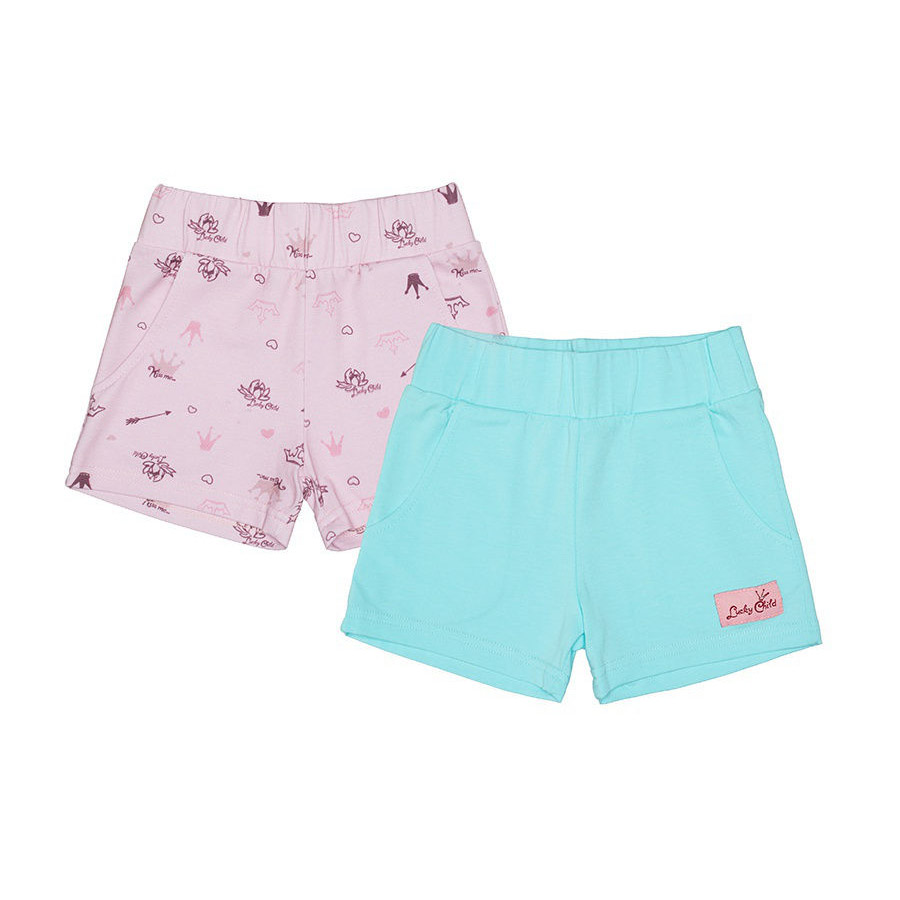 Купить Комплект шорт Lucky Child Принцесса сказки 2 шт 122-128, Розовый, Зеленый, Интерлок, Для девочек, Весна-Лето,
