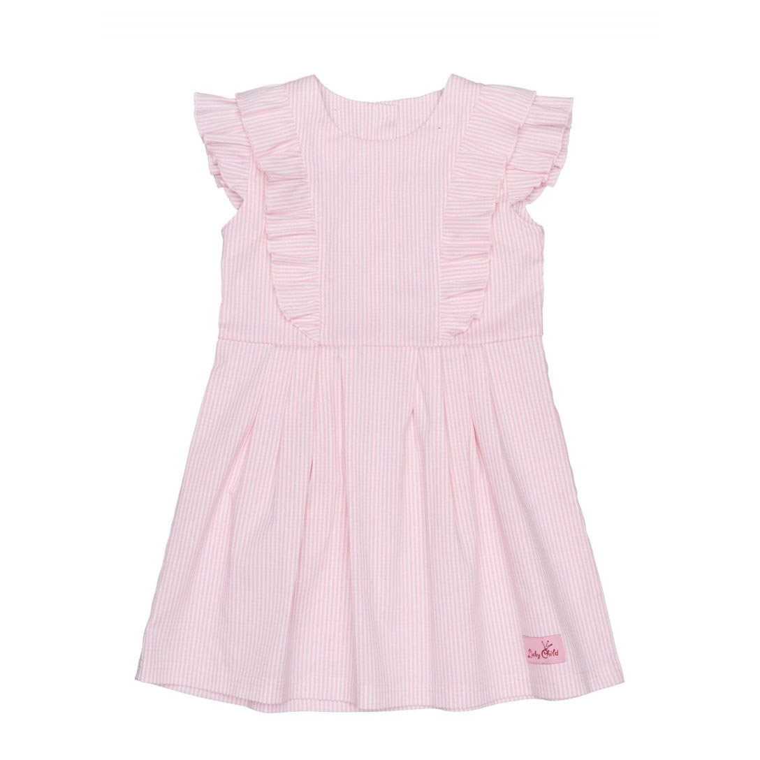 Купить Платье Lucky Child Принцесса сказки в полоску 92-98, Розовый, Интерлок, Для девочек, Весна-Лето,