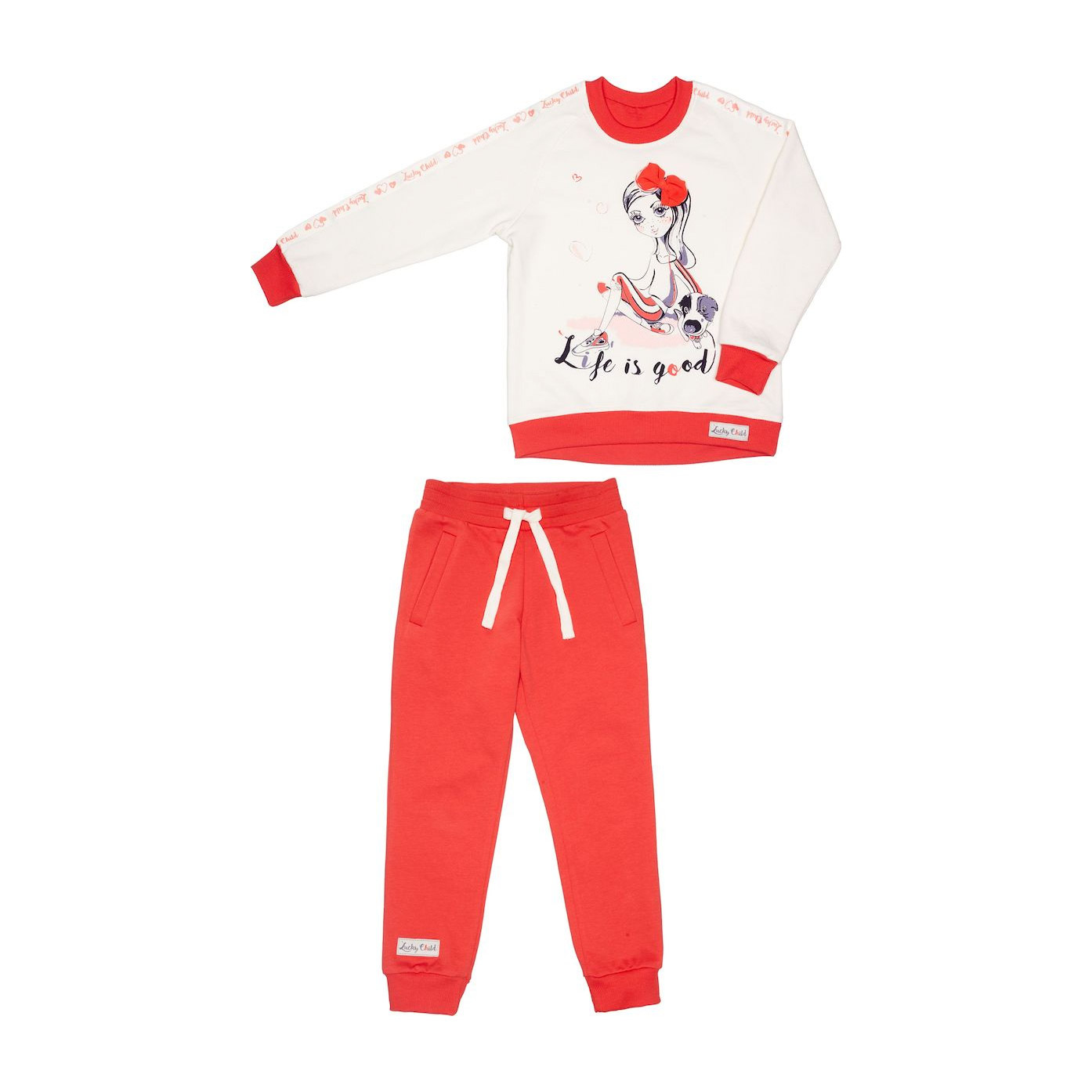 Купить Спортивный костюм Lucky Child: толстовка и брюки коралл/молочный 110-116, Молочный, Коралловый, Футер, Для девочек, Весна-Лето,