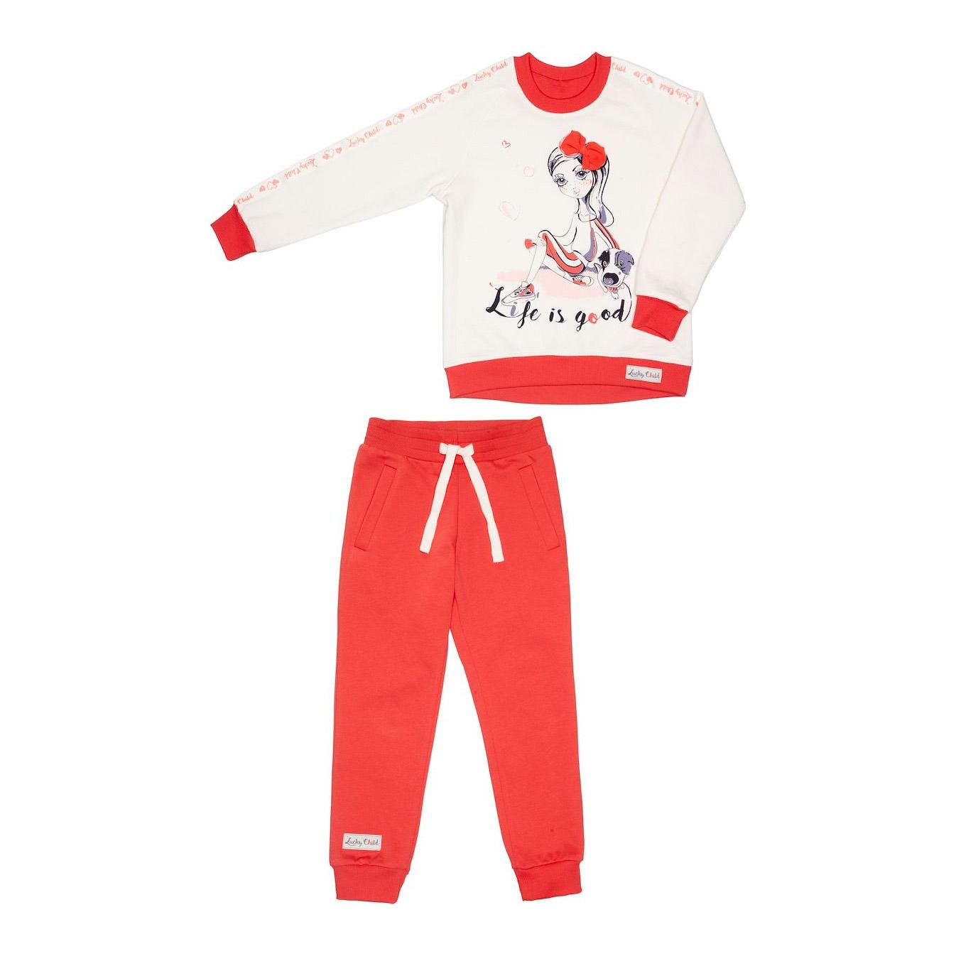 Фото - Спортивный костюм Lucky Child: толстовка и брюки коралл/молочный 128-134 спортивный костюм lucky child sport куртка и брюки 86 92