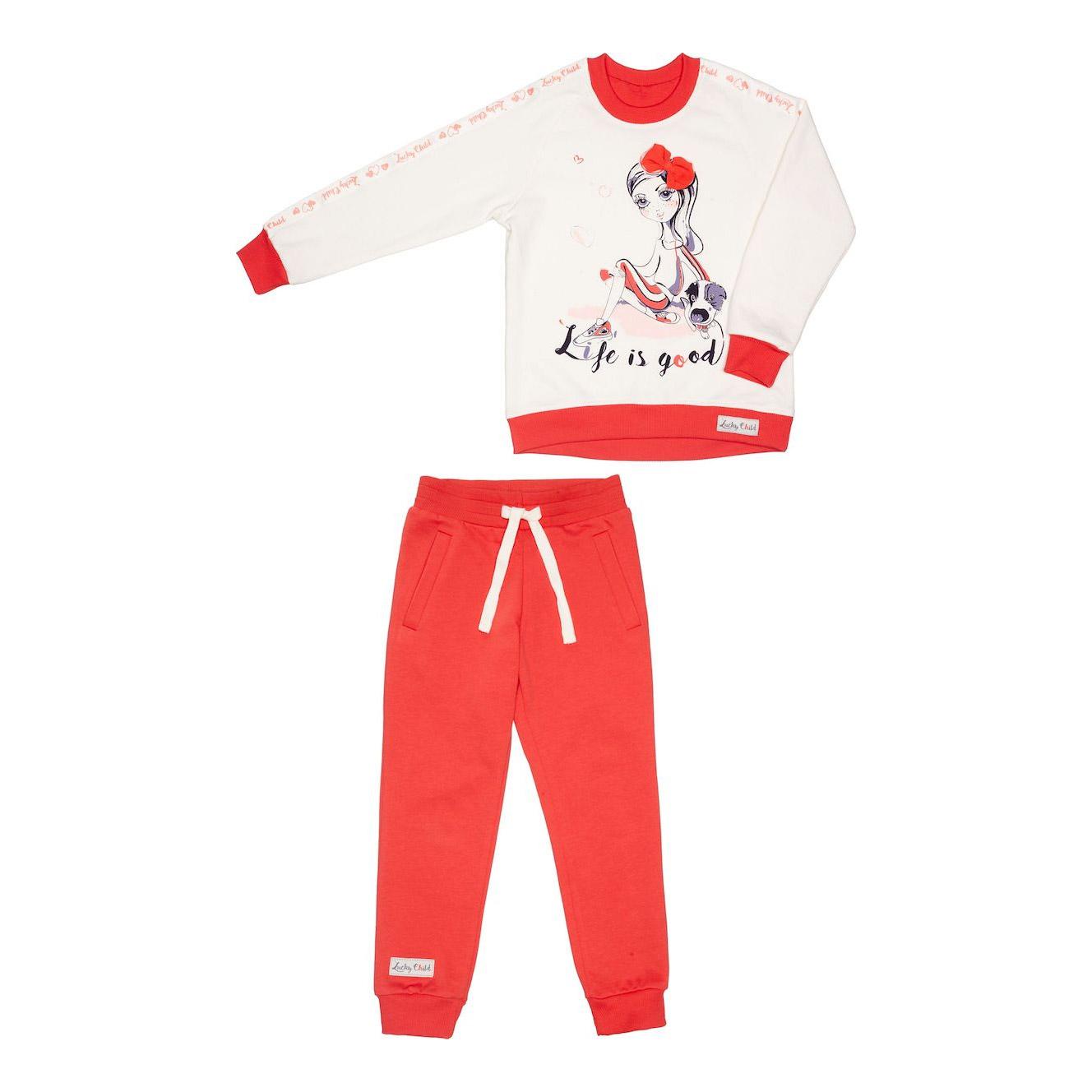 Купить Спортивный костюм Lucky Child: толстовка и брюки коралл/молочный 98-104, Молочный, Коралловый, Футер, Для девочек, Весна-Лето,