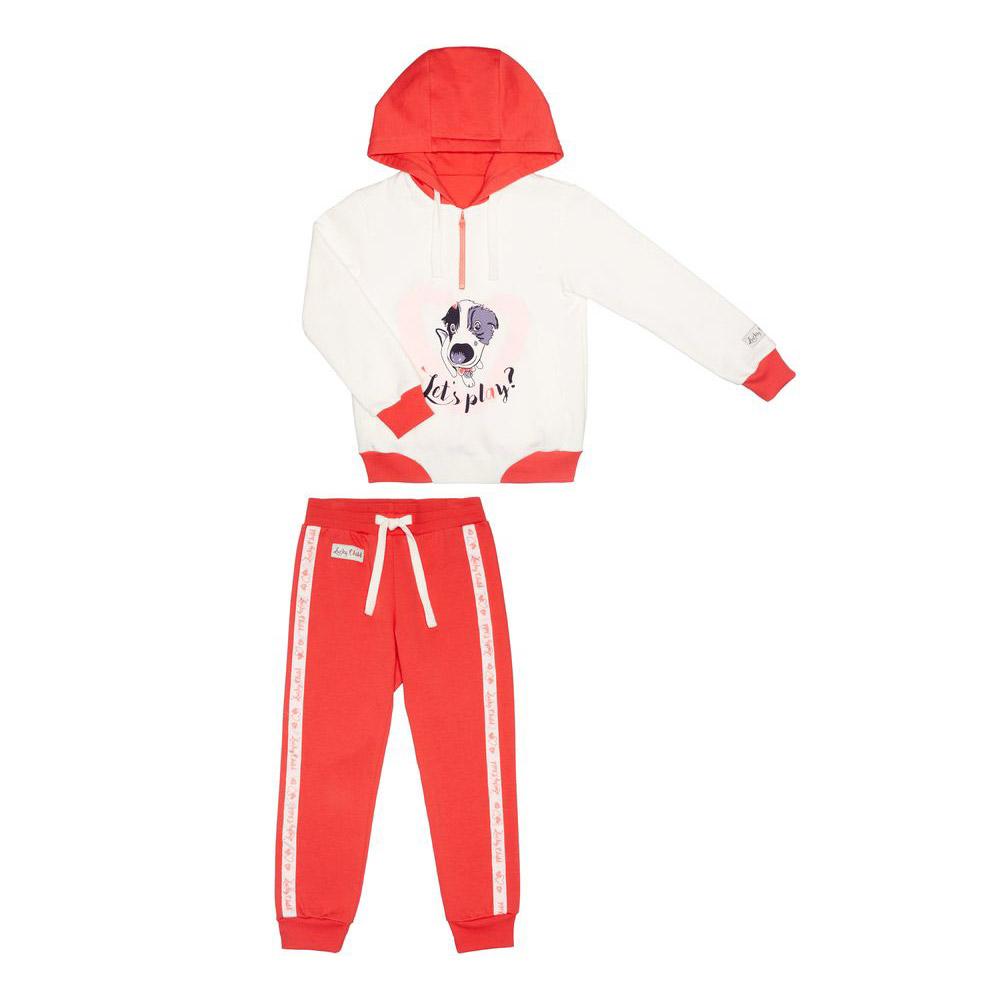 Купить Спортивный костюм Lucky Child с собачкой 104-110, Молочный, Коралловый, Футер, Для девочек, Весна-Лето,