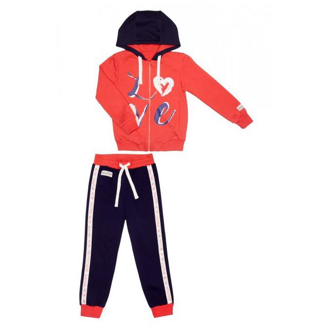 Купить Спортивный костюм Lucky Child: куртка и брюки 86-92, Синий, Коралловый, Футер, Для девочек, Весна-Лето,
