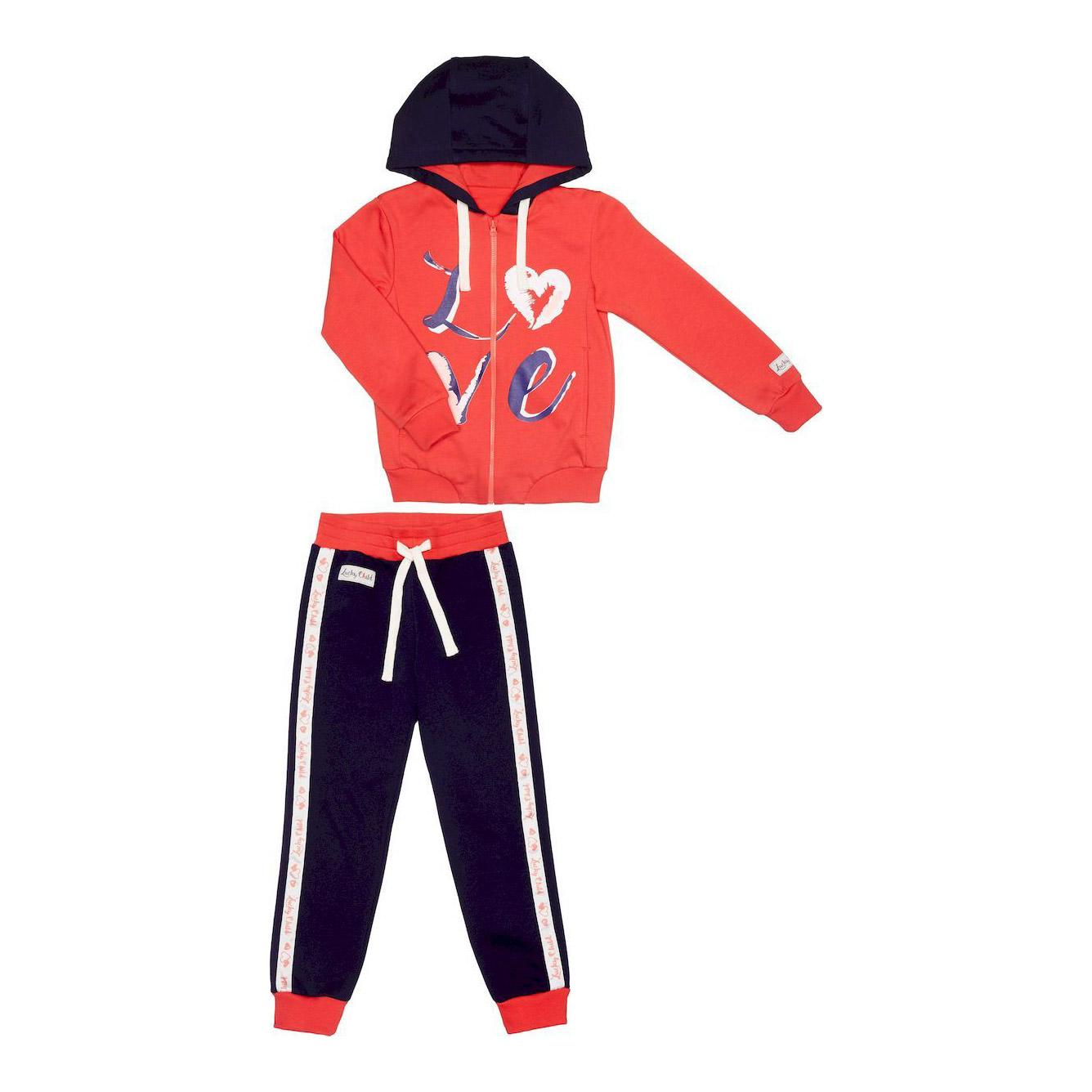 Купить Спортивный костюм Lucky Child: куртка и брюки коралл/синий 92-98, Молочный, Синий, Футер, Для девочек, Весна-Лето,
