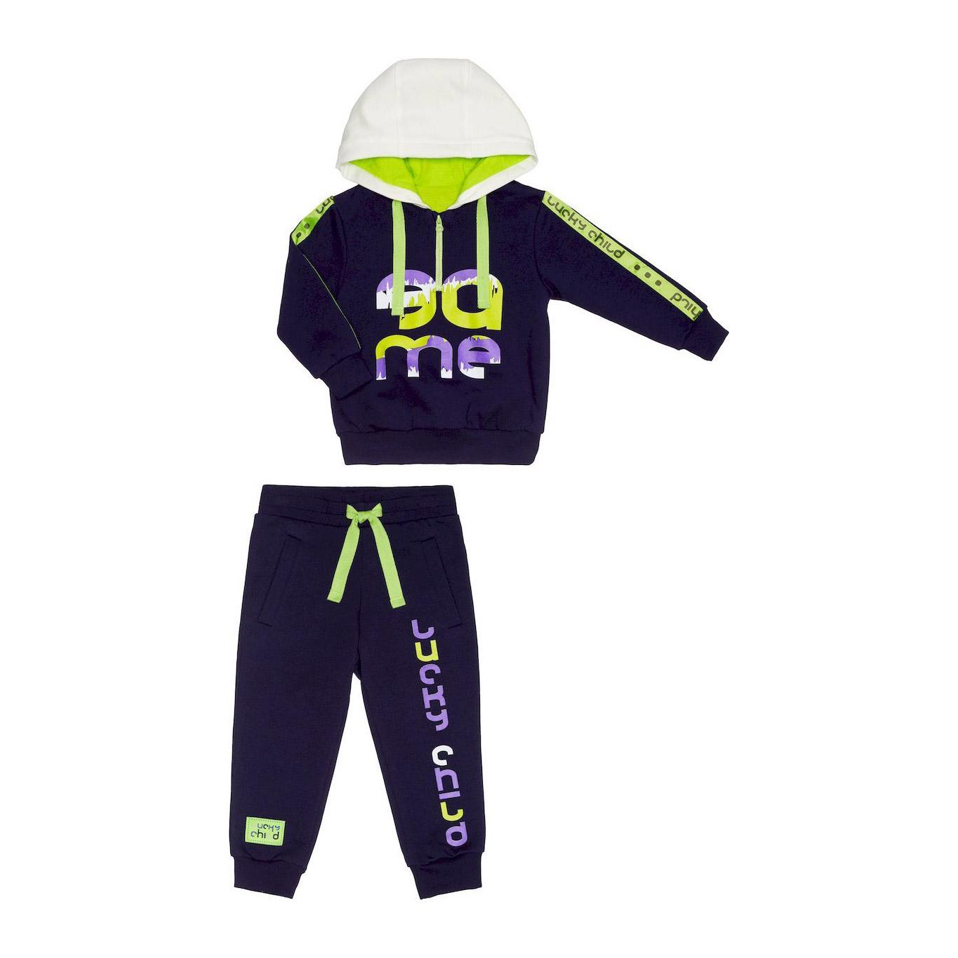 Купить Спортивный костюм Lucky Child 104-110, Синий, Футер, Для мальчиков, Весна-Лето,