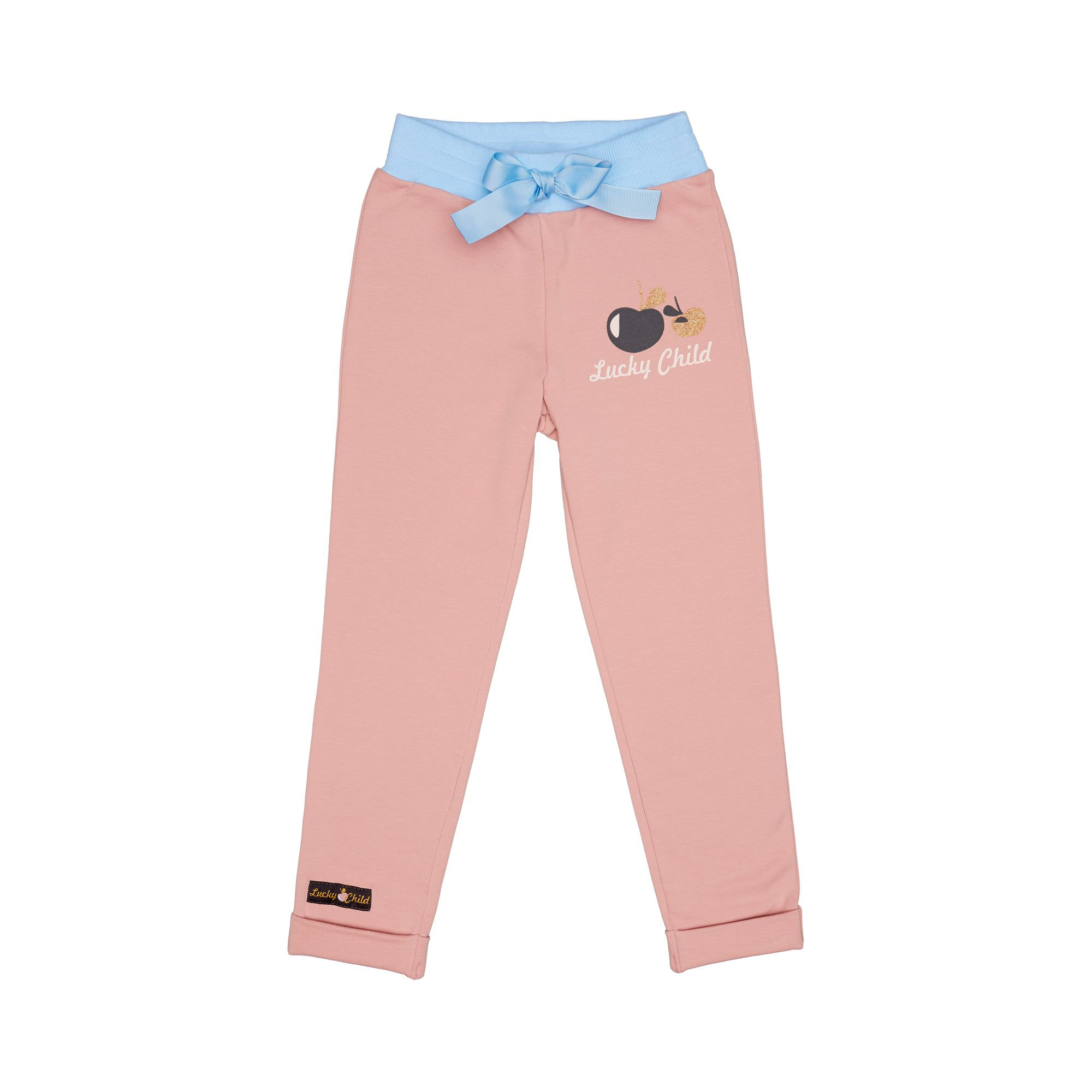 Купить Брюки Lucky Child Осенний лес розовые футер 116-122, Розовый, Футер, Для девочек, Осень-Зима,