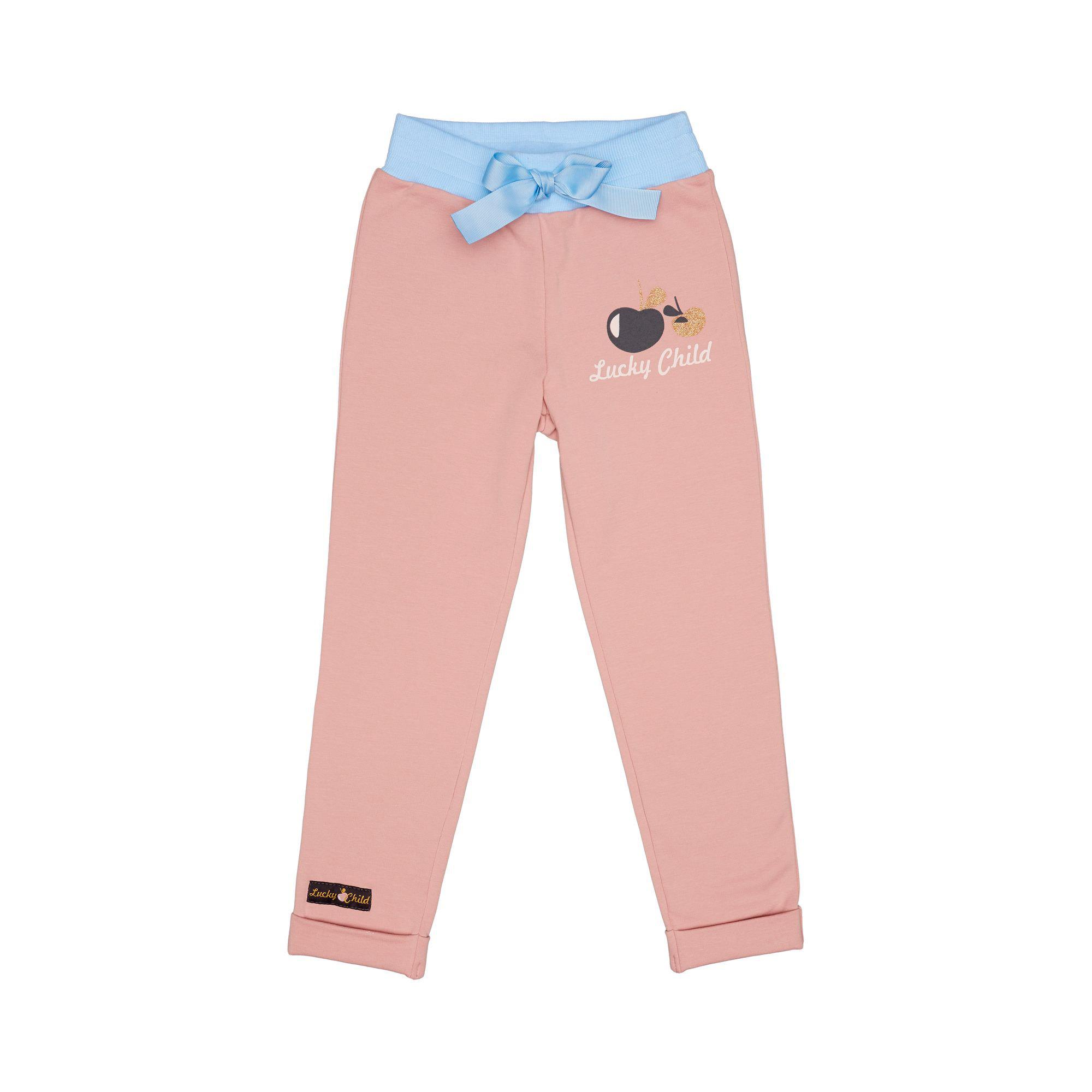 Купить Брюки Lucky Child Осенний лес розовые футер 122-128, Розовый, Футер, Для девочек, Осень-Зима,