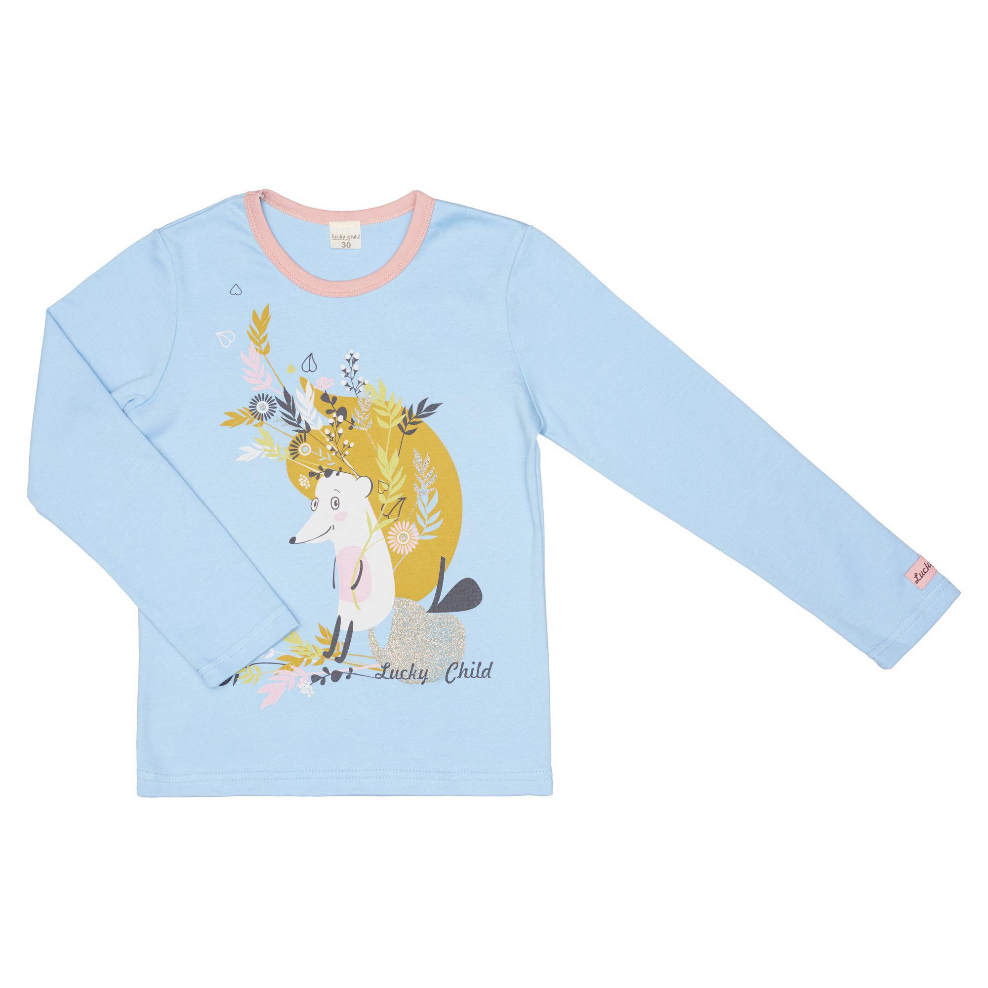 Купить Лонгслив Lucky Child Осенний лес 110-116, Голубой, Кулирка, Для девочек, Осень-Зима,