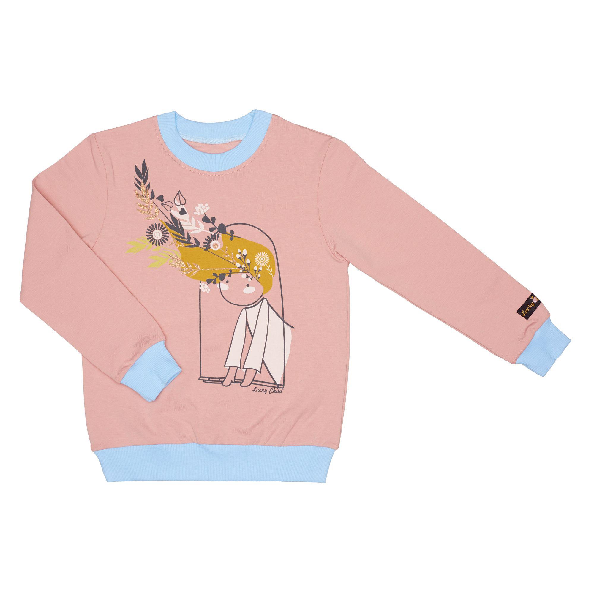 Купить Толстовка Lucky Child Осенний лес футер розовая 122-128, Розовый, Футер, Для девочек, Осень-Зима,