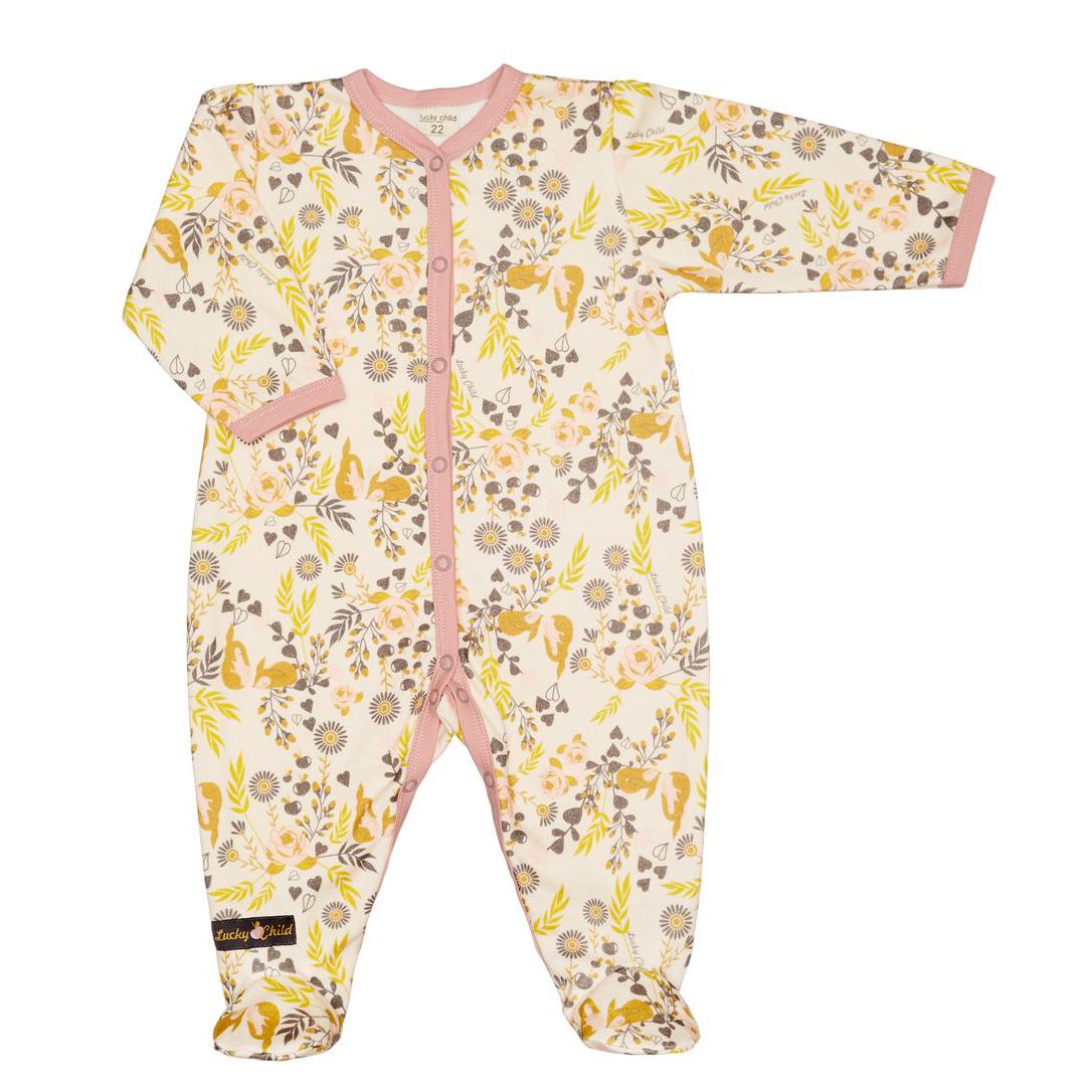 Купить Комбинезон Lucky Child Осенный лес 74-80, Разноцветный, Футер, Осень-Зима, Одежда для новорожденных