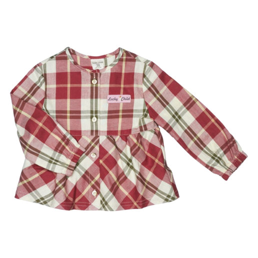 Купить Блузка Lucky Child Осенний лес 104-110, Красный, бежевый, Фланель, Для девочек, Всесезонный,