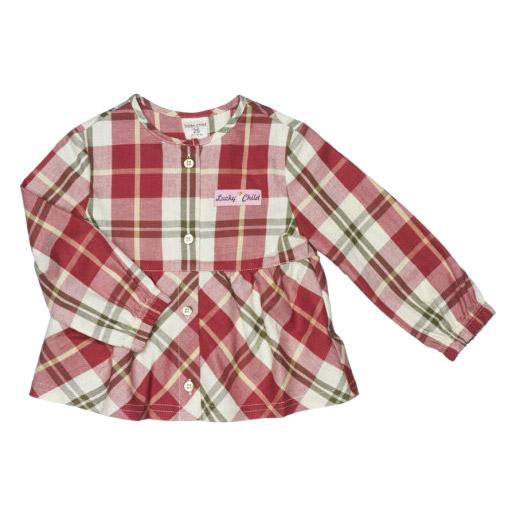 Купить Блузка Lucky Child Осенний лес 116-122, Красный, бежевый, Фланель, Для девочек, Всесезонный,