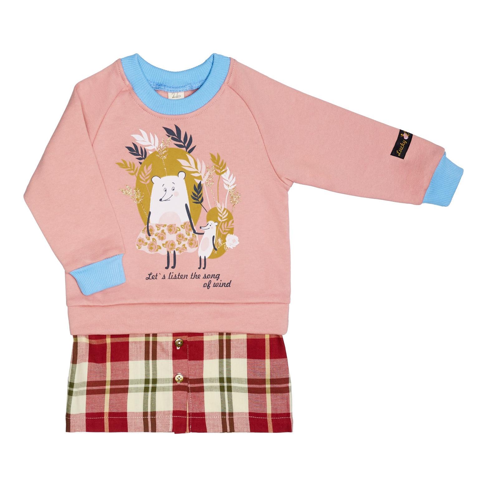 Купить Платье Lucky Child Осенний лес розовое 104-110, Розовый, Футер, Для девочек, Осень-Зима,