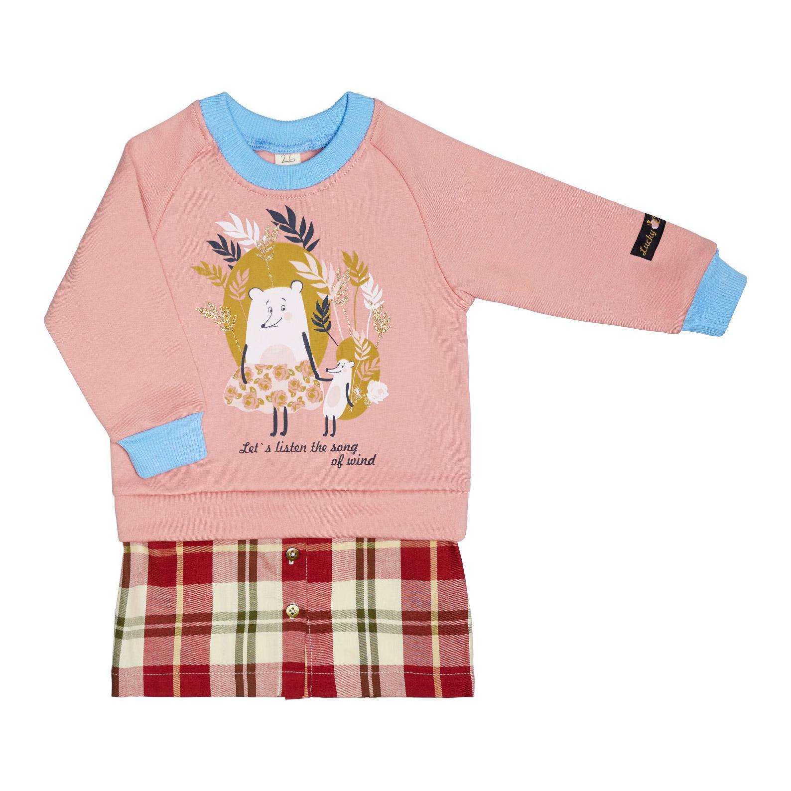 Купить Платье Lucky Child Осенний лес розовое 122-128, Розовый, Футер, Для девочек, Осень-Зима,