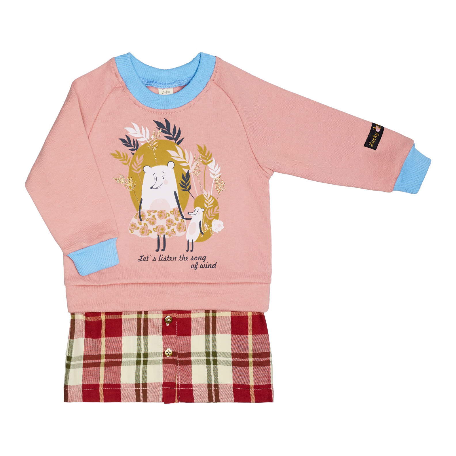 Купить Платье Lucky Child Осенний лес розовое 98-104, Розовый, Футер, Для девочек, Осень-Зима,