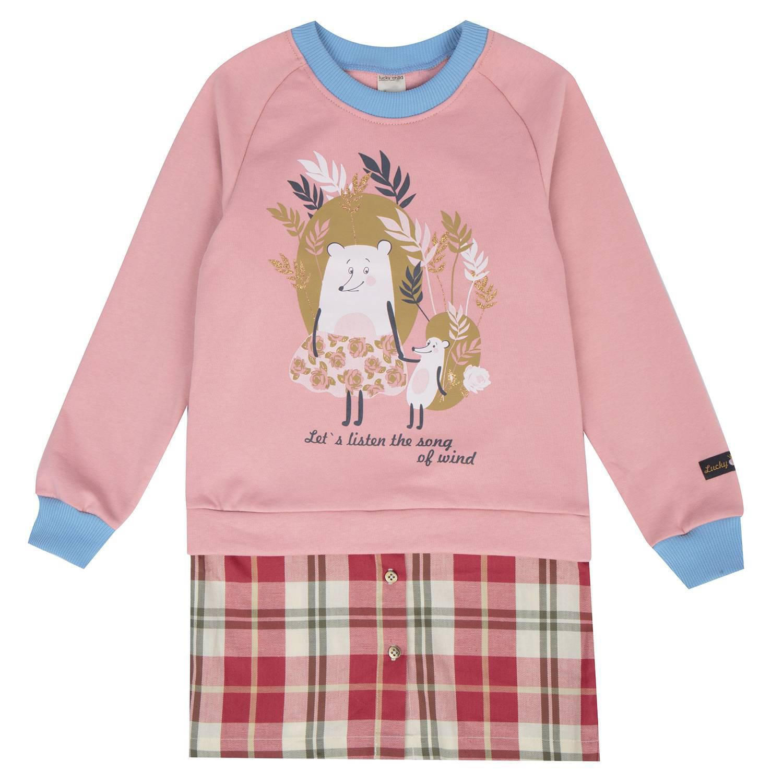 Купить Платье Lucky Child Осенний лес футер розовое 86-92, Розовый, Футер, Для девочек, Осень-Зима,