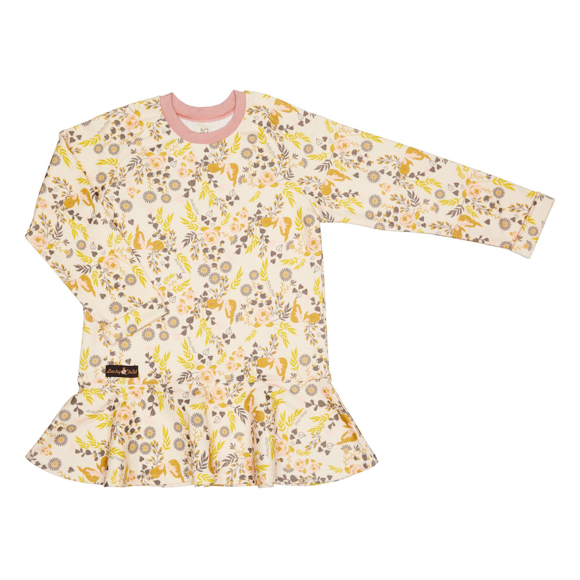 Купить Платье Lucky Child Осенний лес футер цветное 116-122, Разноцветный, Футер, Для девочек, Осень-Зима,